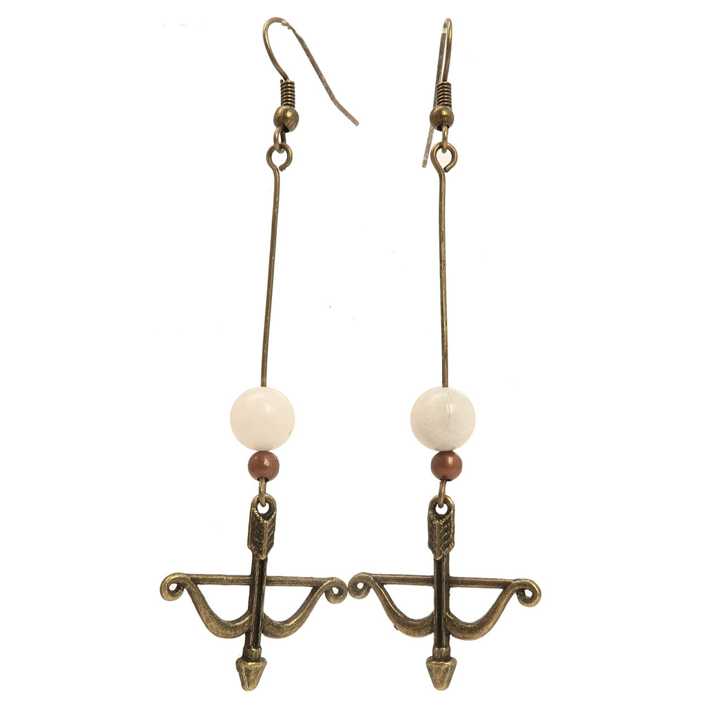 Moonstone Earrings 02 - Archery Bow Arrow White Long