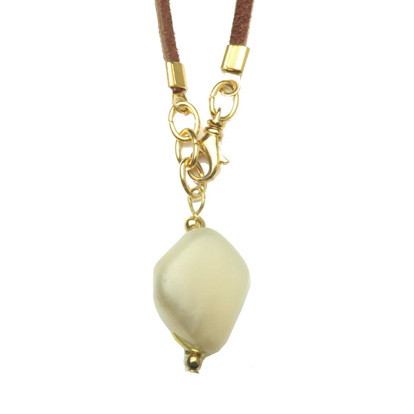 Moonstone Necklace 15 - Peach Stone Deerskin Leather