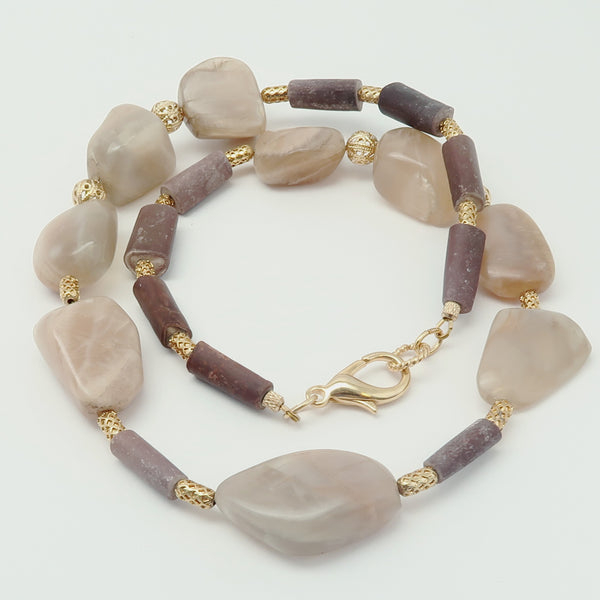 Moonstone Necklace 17 - Chunky Peach Stone Sea Urchin