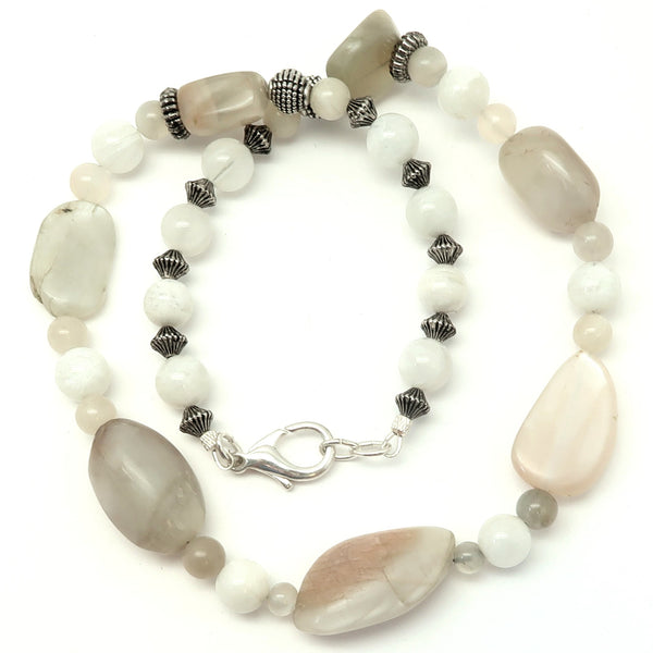Moonstone Necklace 19 - Peach White Chunky Beaded