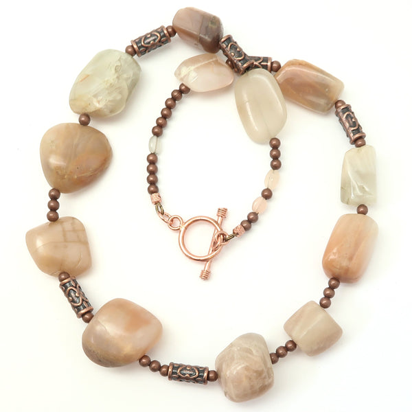 Moonstone Necklace 24 - Chunky Peach Stone Copper
