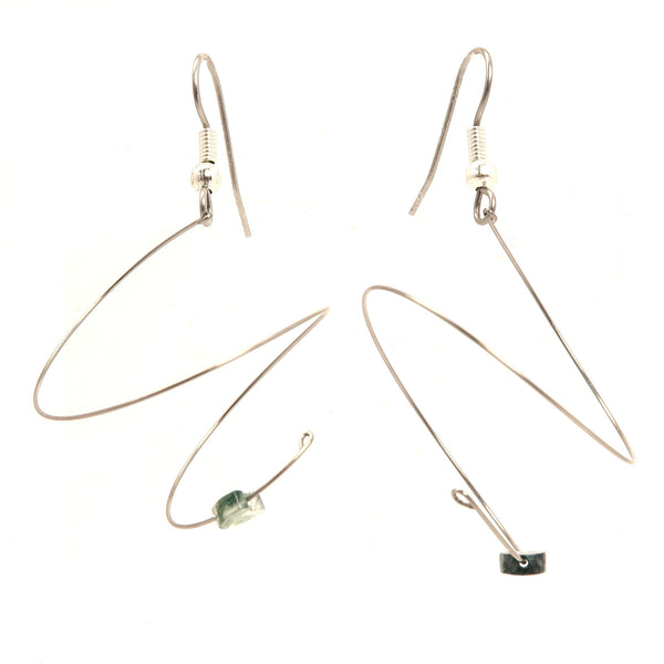 Moss Agate Earrings 02 - Spiral Silver Coil Hearts