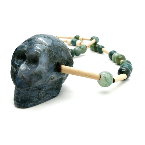 Moss Agate Necklace 13 Skull Green Stone Beaded
