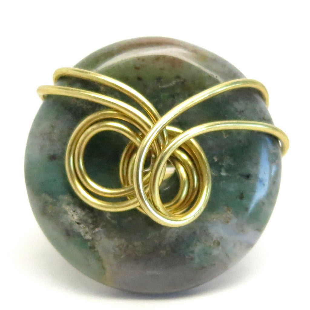 Moss Agate Ring 17 Green Donut Stone Wire Wrapped (Size 6.25)