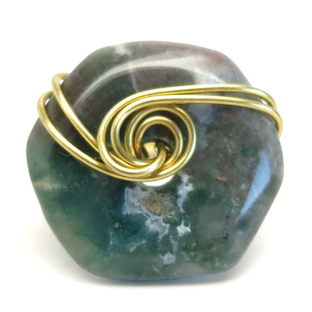 Moss Agate Ring 18 Green Hexagram Stone Wire Wrapped (Size 9)