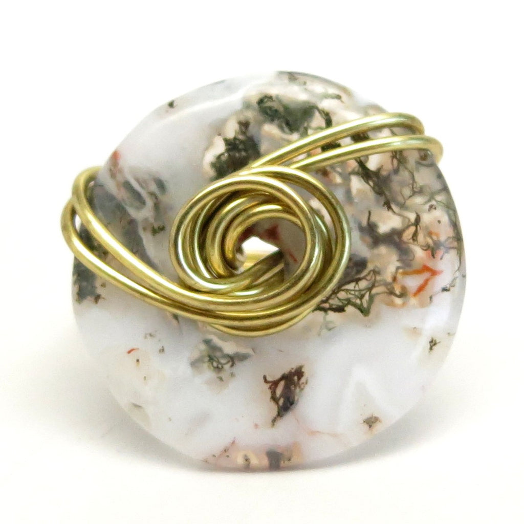Moss Agate Ring 19 Green Hexagram Stone Wire Wrapped (Size 7)