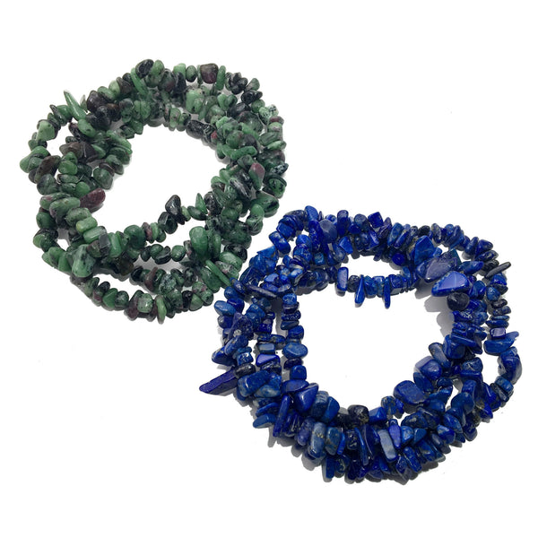 Necklace Set 06 Blue Lapis Green Ruby Zoisite Stone Pair (33 Inches) - I Dig Crystals