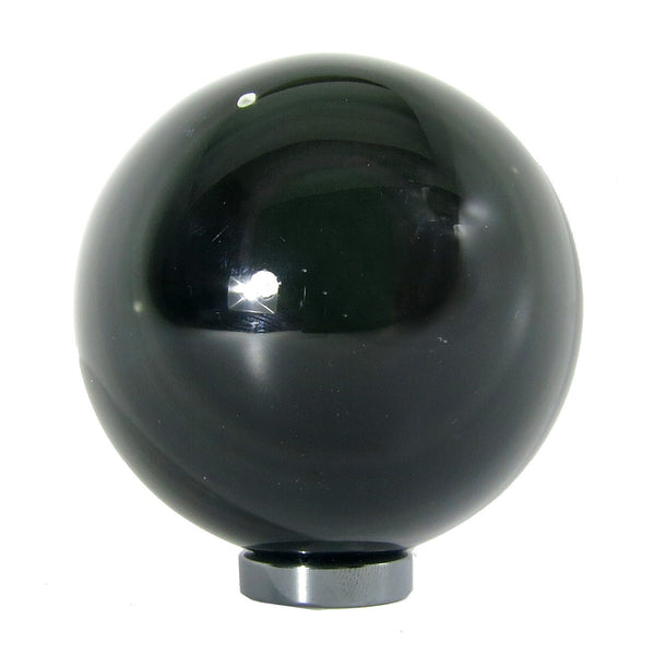 Obsidian Ball 13 Rainbow Dot Black Stone Sphere + Stand (2.5 Inches) - I Dig Crystals