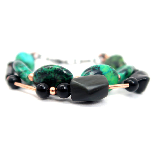 Obsidian Bracelet 45 - Chrysocolla Double Layer
