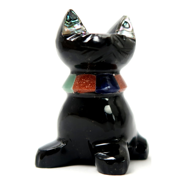 Obsidian Cat 01 Abalone Goldstone Animal Stone Carving