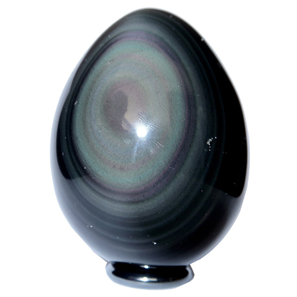 Obsidian Egg 04 - Rainbow Black + Stand (2.7 Inches)