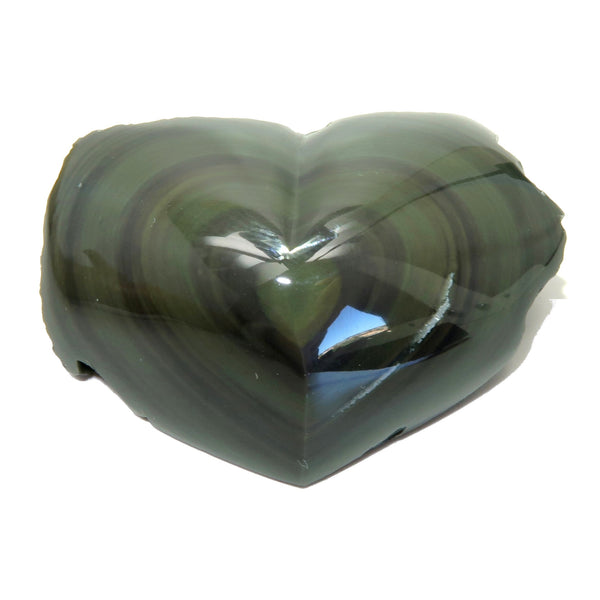 Obsidian Heart 23 Rainbow Black Polished Stone (2.2 Inches)