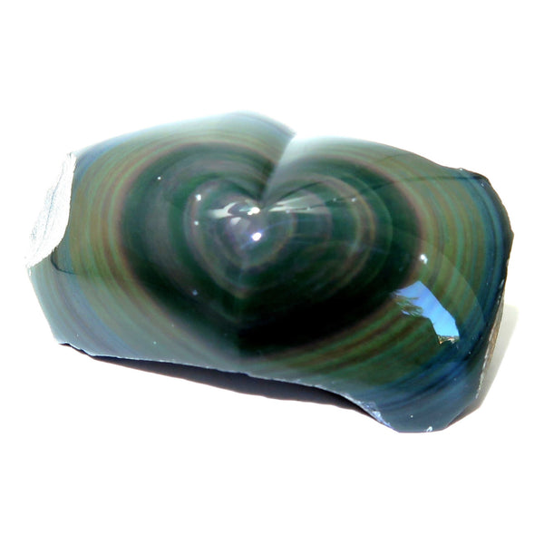 Obsidian Heart 25 Rainbow Black Polished Stone (2.4 Inches)