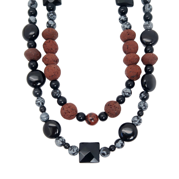 Obsidian Necklace 34 - Lava Multi-Strand Snowflake Rainbow