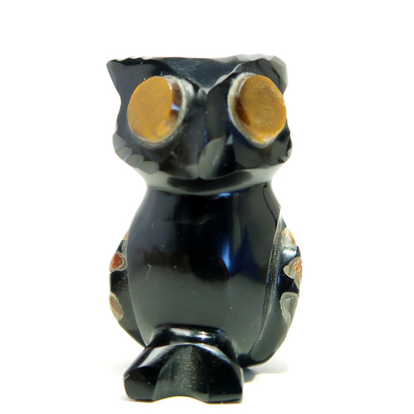 Obsidian Owl 01 Tigers Eye Goldstone Abalone Animal Bird
