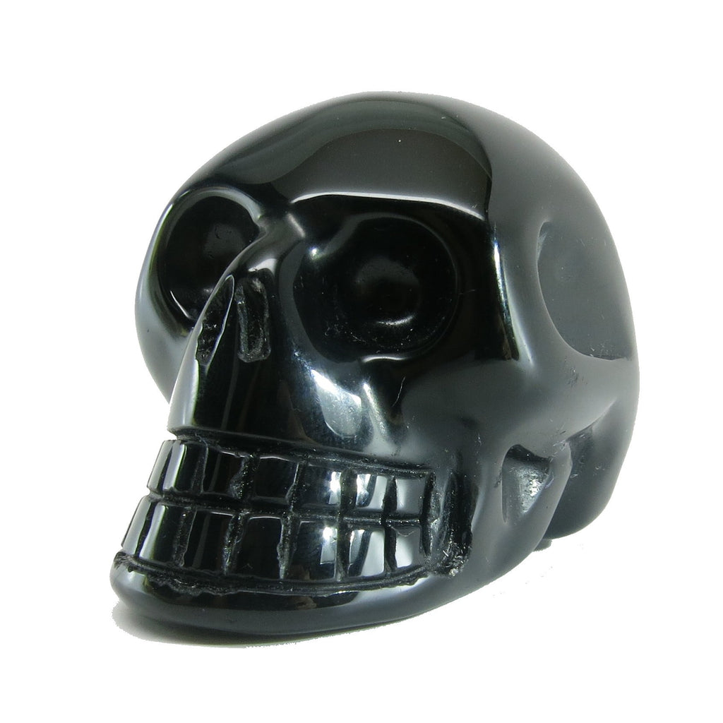 Obsidian Skull 01 Black Carved Protection Stone (2.4 Inches) - I Dig Crystals