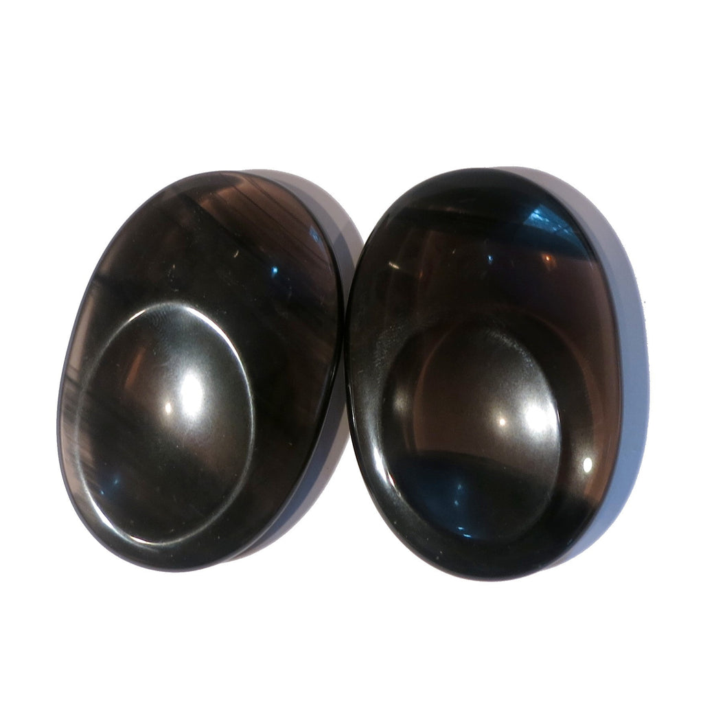 Obsidian Slab 01 Pair Black Midnight Lace Worry Stone Set - I Dig Crystals