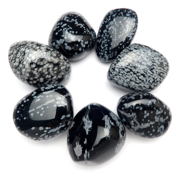 Obsidian Tumbled 01 - Big Snowflake Black Gray Stones (Set of 7)
