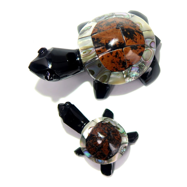 Obsidian Turtle 01 Pair Mahogany Abalone Animal Set