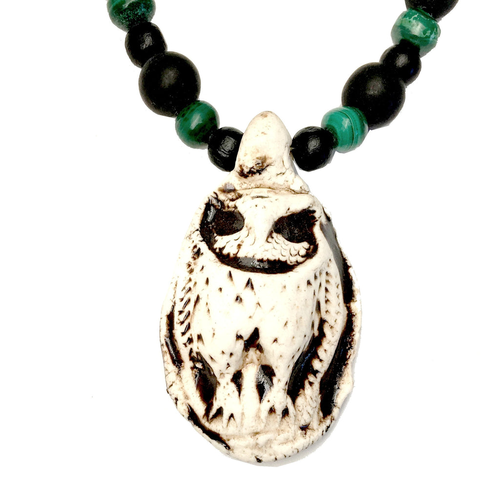 Onyx Necklace 06 Owl Malachite Beaded Animal