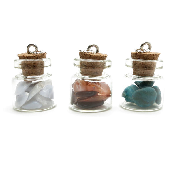 Pendant Set 14 Three Glass Vial Chrysocolla Carnelian Blue Lace Agate - I Dig Crystals