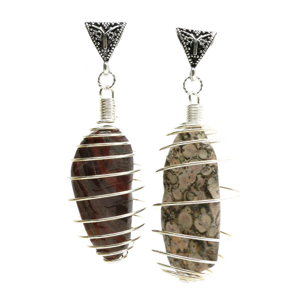Pendant Set 22 Leopard & Red Jasper Stone Silver Cage Chunky Pair - I Dig Crystals