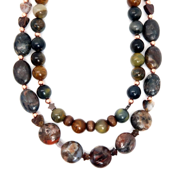 Pietersite Necklace 01 - Star Heart Wood Multi-Strand