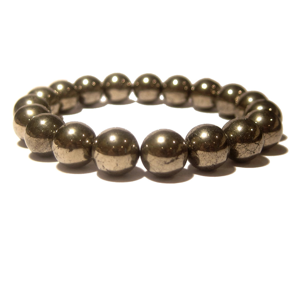 Pyrite Bracelet 04 Stretch 9-10mm Fools Gold Round Stone - I Dig Crystals