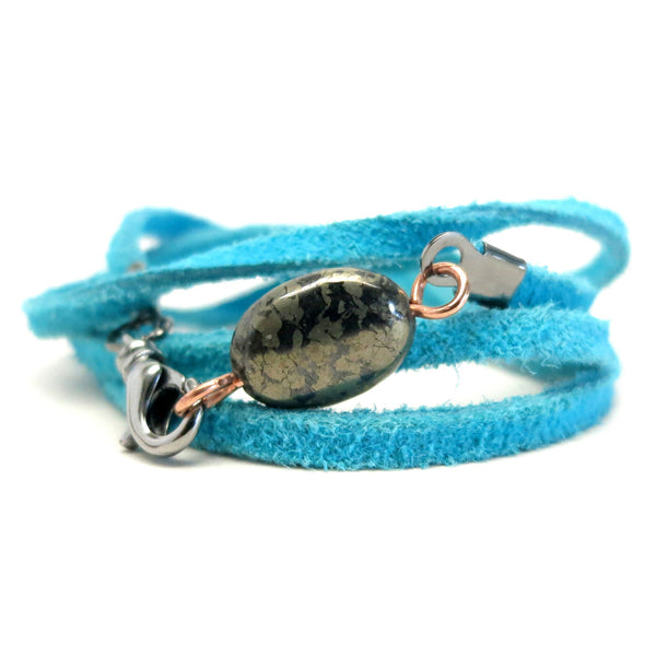 Pyrite Bracelet 15 Gold Oval Stone Turquoise Wrap
