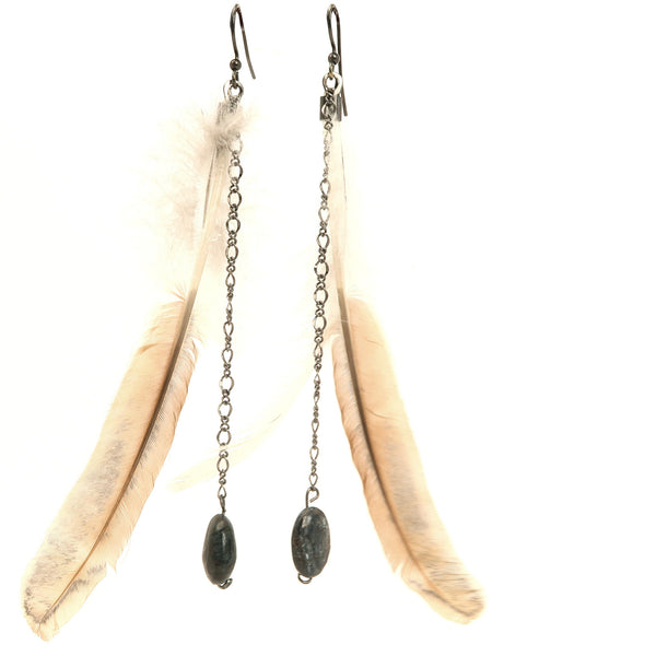 Pyrite Earrings 01 - Feather Long Oval Stone