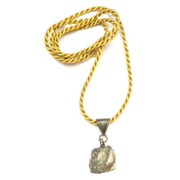 Pyrite Necklace 06 - Fools Gold Nugget Stone Yellow Cord