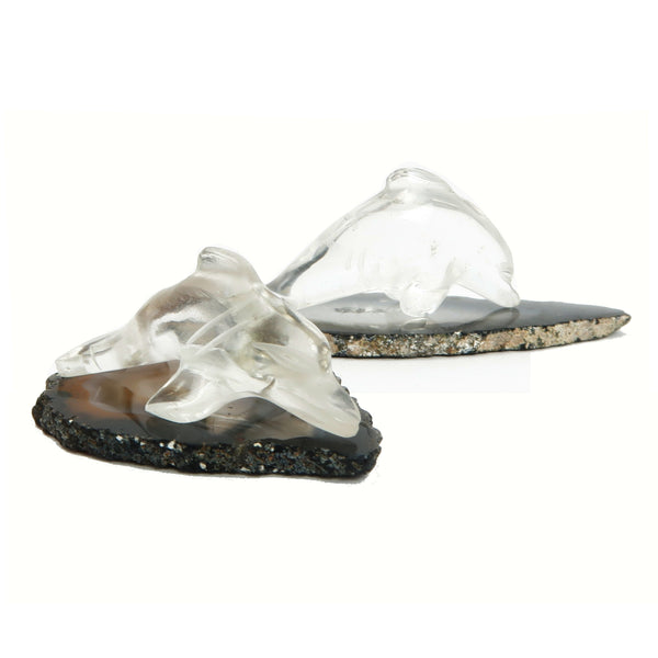 Quartz Dolphins 01 - Clear Animal Pair Agate Stone Set