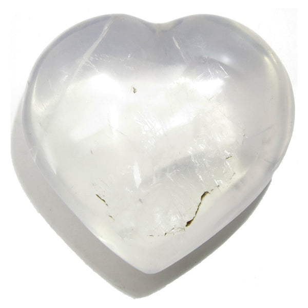 Quartz Heart 27 Rainbow Girasol White Stone (2.5 Inches)