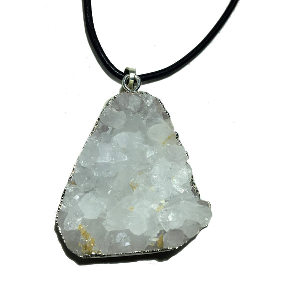 Quartz Necklace 36 Chunky Cluster Stone Black Leather