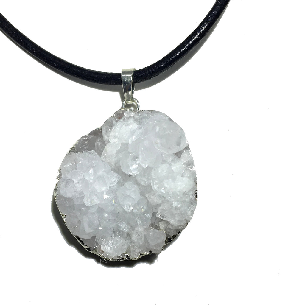 Quartz Necklace 37 Thick Leather White Cluster Stone