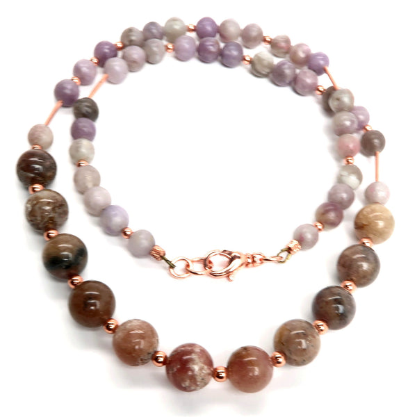 Quartz Necklace 45 Strawberry Lilac Copper Beaded