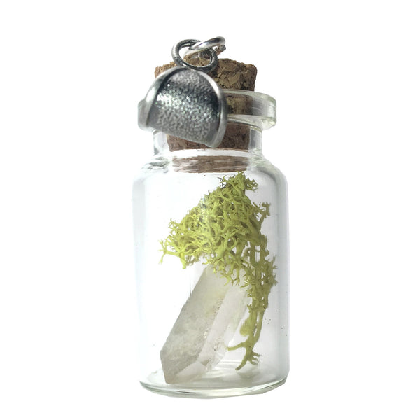 Quartz Pendant 49 Vial Moss Crystal Point Stone