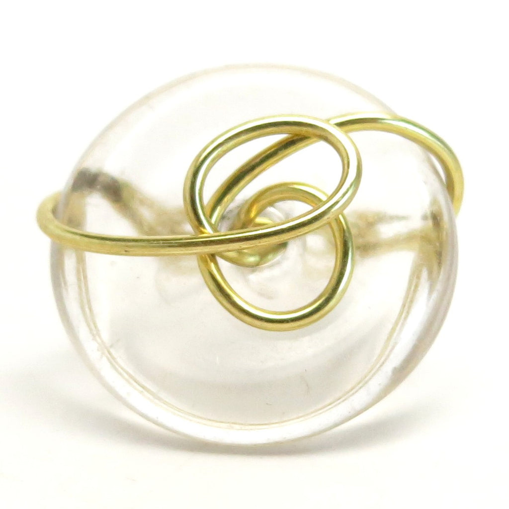 Quartz Ring 11 Clear Donut Stone Wire Wrapped (Size 6.75)