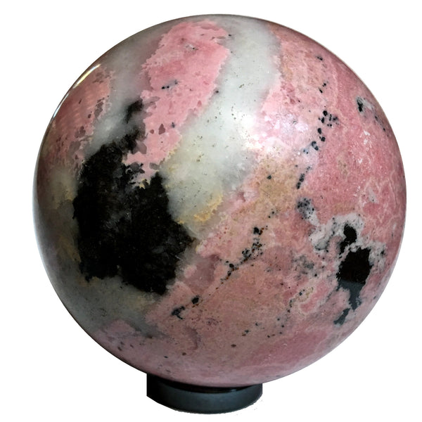 Rhodonite Ball 04 Pink Stone Sphere + Stand (2.4 Pounds, 3.5 Inches) - I Dig Crystals