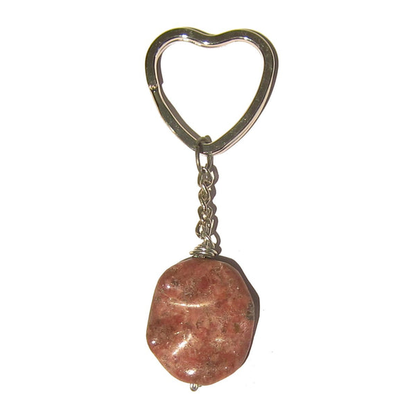 Rhodonite Keychain 01 Pink Wavy Oval Stone Heart Key Fob - I Dig Crystals