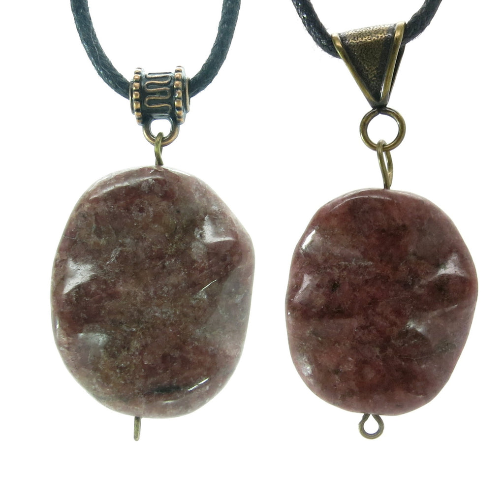 Rhodonite Necklace 12 Set Pink Wavy Oval Stone Black Cotton Pair - I Dig Crystals