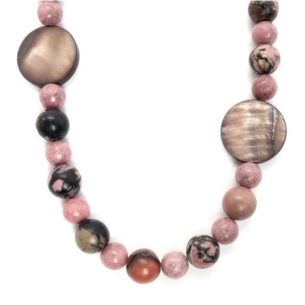 Rhodonite Necklace 18 Brown Shell Pink Beaded