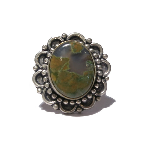 Rhyolite Ring 01 Brown Green Stone Silver Brass Flower (Size 10.5) - I Dig Crystals