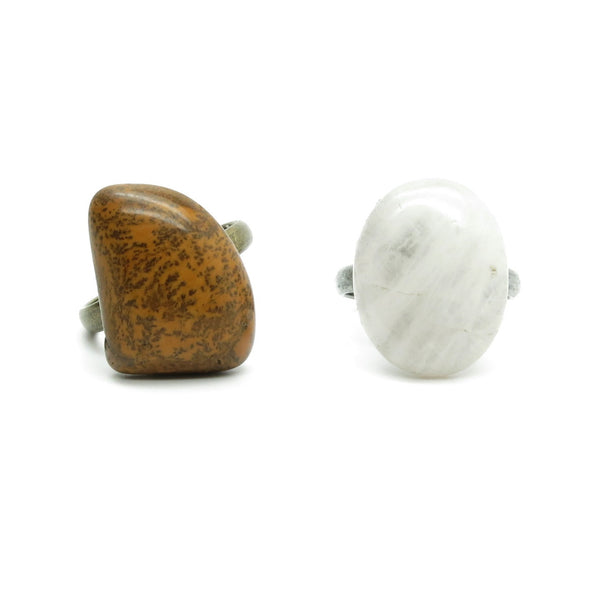 Ring Set 03 Dendritic Jasper & Rose Quartz Stones (Size 7.5-8.5) - I Dig Crystals