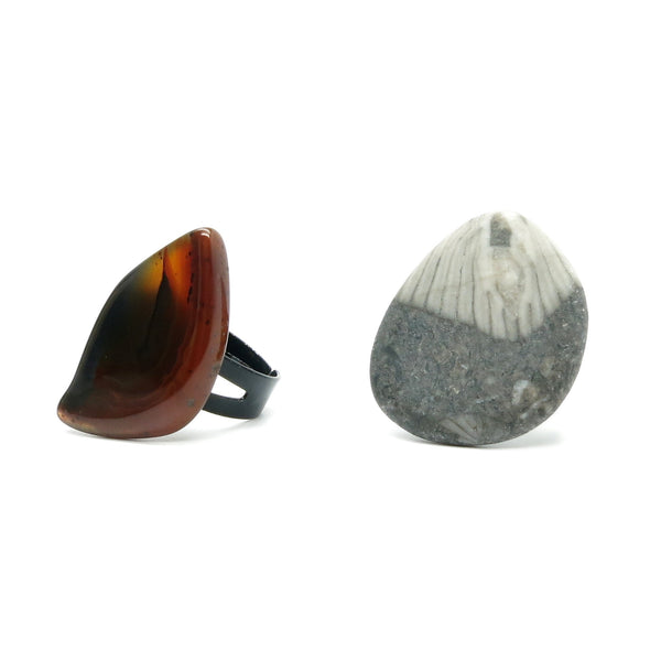 Ring Set 05 Fossil Coral & Carnelian Stone Adjustable (Size 5.5-8.5) - I Dig Crystals