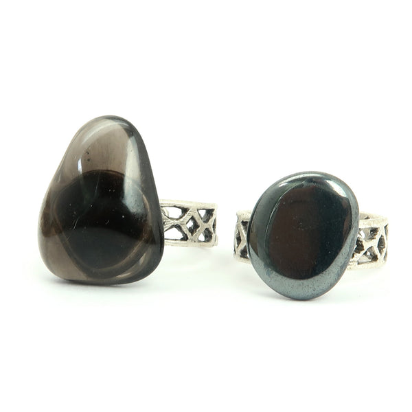 Ring Set 15 - Hematite & Obsidian Black Silver Adjustable