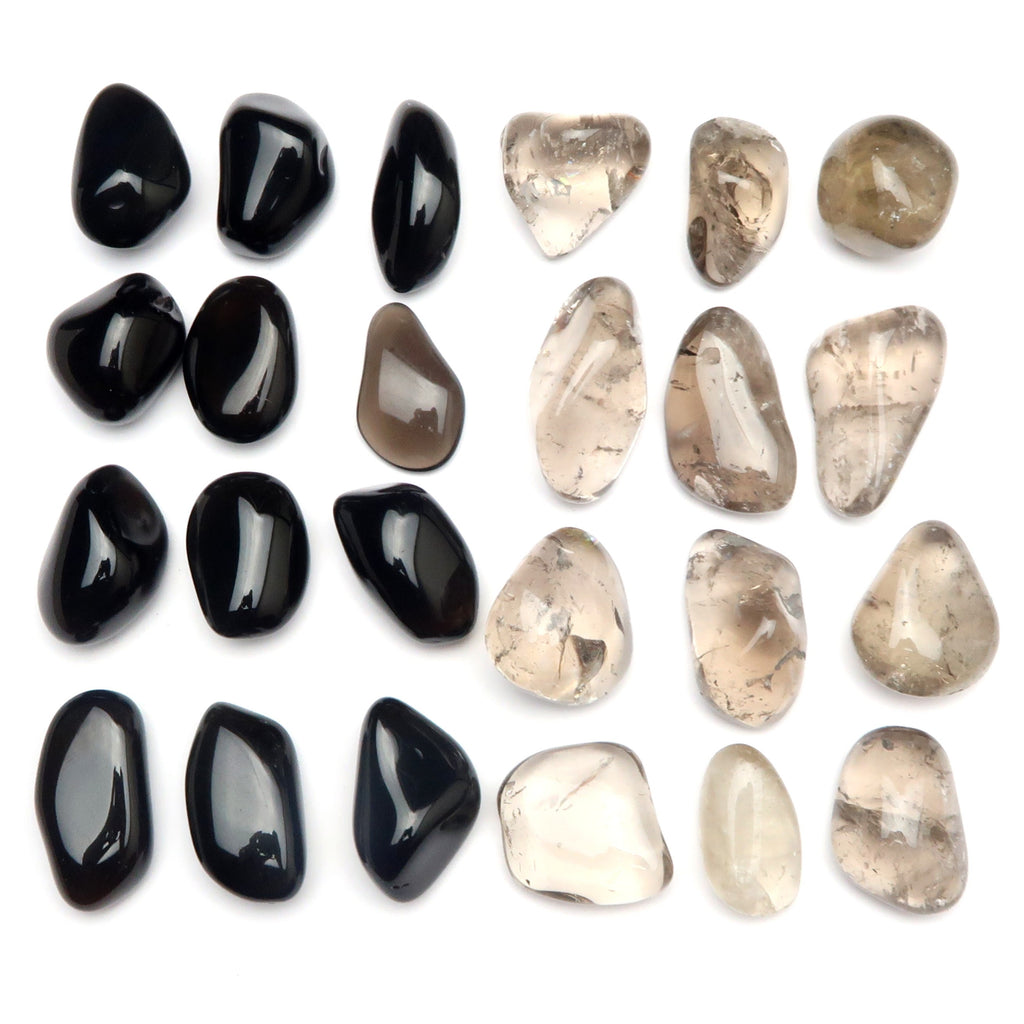 Root Chakra 07 - Obsidian & Smoky Quartz Tumbled Stones (Set of 24)