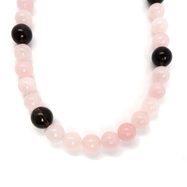 Rose Quartz Necklace 22 Smoky Brown Pink Short Beaded