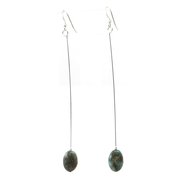 Ruby Kyanite Earrings 02 Long Oval Blue Red Stone Dangle - I Dig Crystals