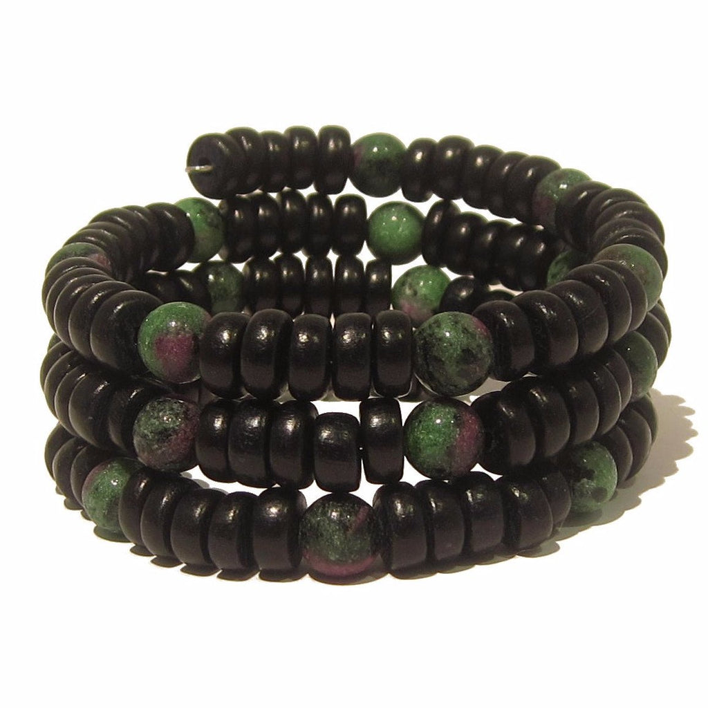 Ruby Zoisite Bracelet 02 Wrap Green Stone Wood Memory Wire - I Dig Crystals